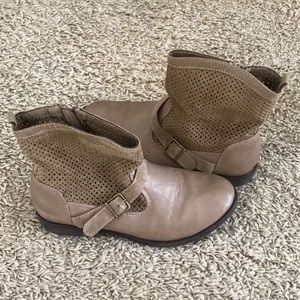 Cute Brown soft fabric cowgirl boots youth girls